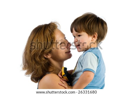 Careful mother with child isolated on white