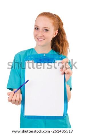 Careful nurse isolated on white - stock photo