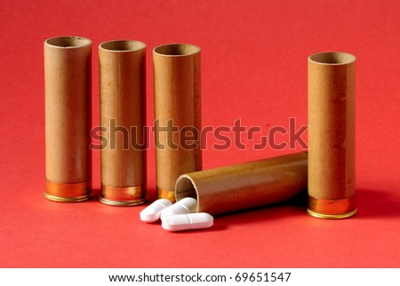 Carefully - medicines. The uncontrolled use of medicines is life-threatening. Tablets fill a gun sleeve.