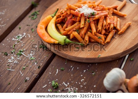 Carefully prepared and nice served dish of pasta. - stock photo