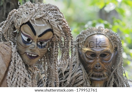CAREY ISLAND, SELANGOR,MALAYSIA - MARCH 1, 2014 : Unidentified people of Mah Meri tribe dance during the Ari Moyang (Ancestors Day) celebration in Pulau Carey Island, Klang, Malaysia - stock photo