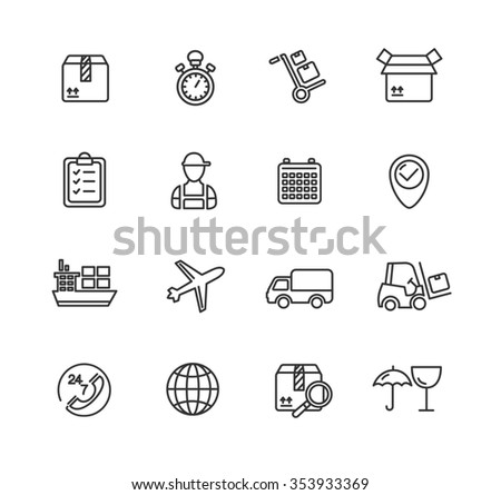 Cargo and Shipping Outline Icons Set. illustration - stock photo