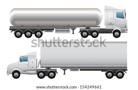 Cargo and tanker truck - stock photo