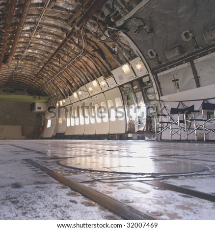 Cargo area of a big airplane - stock photo