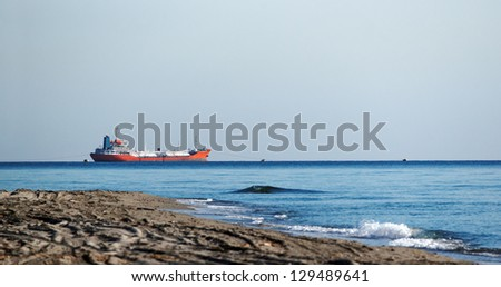 Cargo boat in eastern coast of corsica