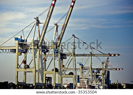 Cargo container cranes at Hamburg(Germany) harbor - stock photo