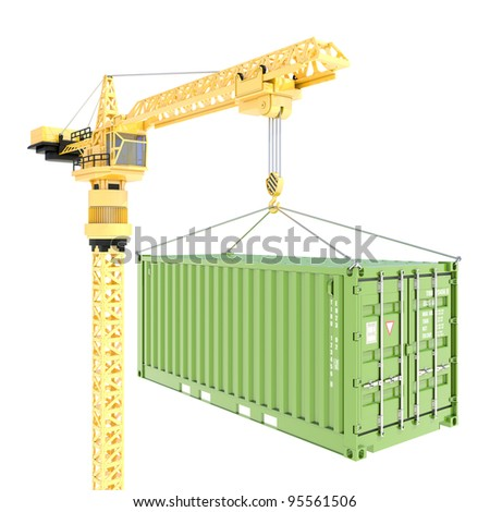 Cargo container delivery with crane isolated on white - stock photo