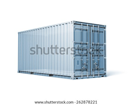 Cargo container, digital blue toned render with wireframe lines isolated on white - stock photo