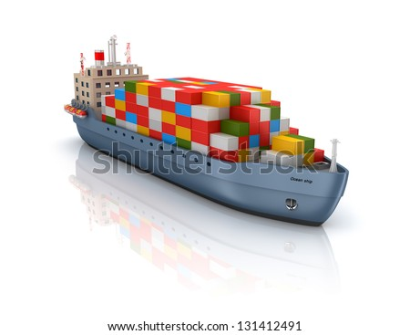 Cargo container ship - stock photo