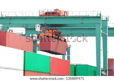 cargo container with crane - stock photo