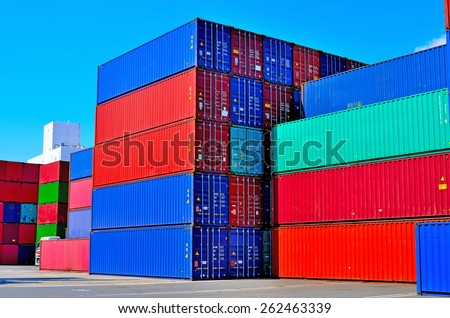 Cargo container yard,  the Port of Tokyo, Japan - stock photo