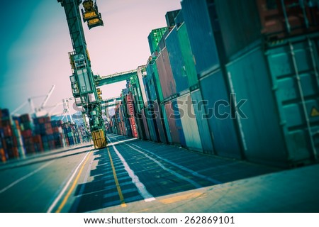 Cargo Containers Alley. Shipping Containers Lot. Shipping and Logistic Theme. - stock photo