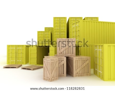 cargo containers and wooden boxes for delivery and shipping. - stock photo