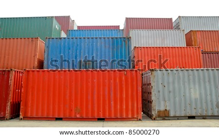Cargo Containers at a dock isolated on white background - stock photo