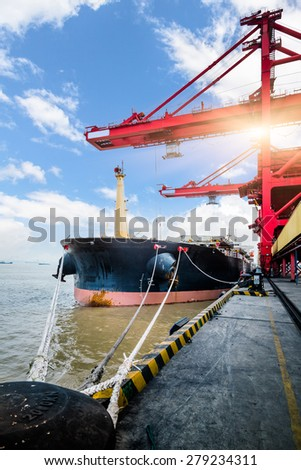 Cargo containers at harbor, shanghai china. - stock photo