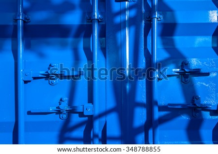 Cargo containers color blue background.