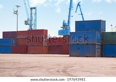 Cargo containers in the dock - stock photo