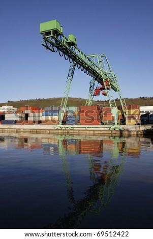 Cargo containers in the port of Stuttgart, Germany - stock photo