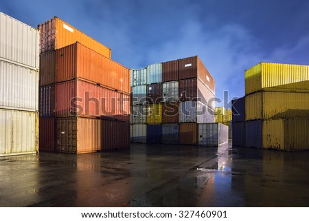 Cargo containers stored in transhipment station