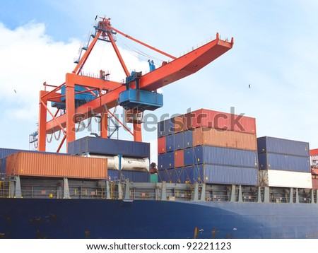 Cargo containers under quayside crane