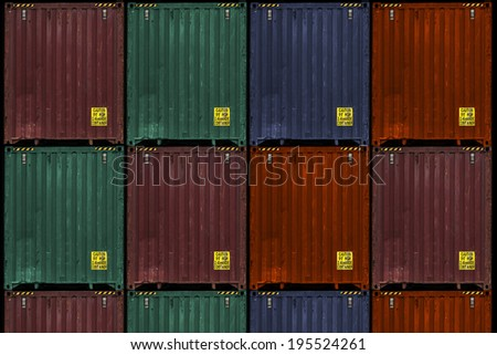 cargo containers, various colors - stock photo