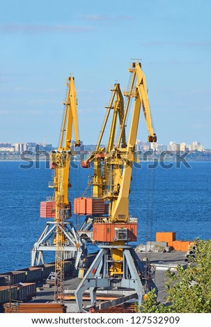 Cargo crane and freight traine in port