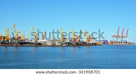 Cargo crane freight traine and coal in port - stock photo