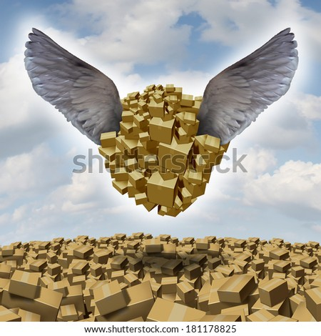 Cargo delivery concept as an air freight symbol with a group of cardboard boxes being airlifted for shipping with bird wings as a metaphor for fast courier services for deliveries of goods. - stock photo