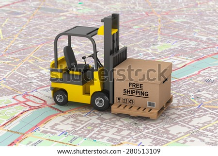 Cargo delivery Concept. Forklift with Free Shipping Box over map - stock photo