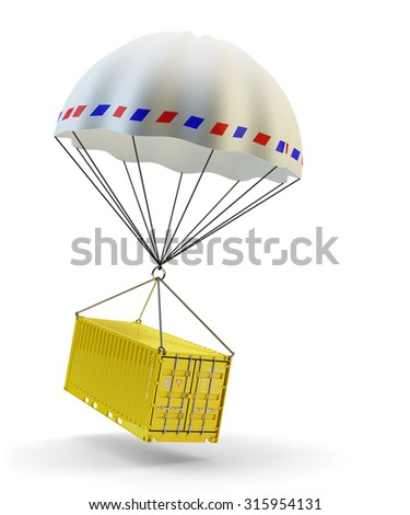 Cargo delivery service, shipment and freight transportation concept, cargo container with parachute isolated on white background - stock photo