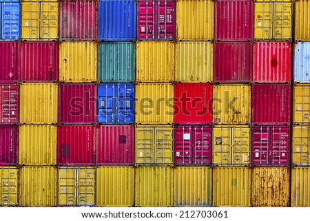 cargo freight containers in Piraeus Port in Athens  - stock photo