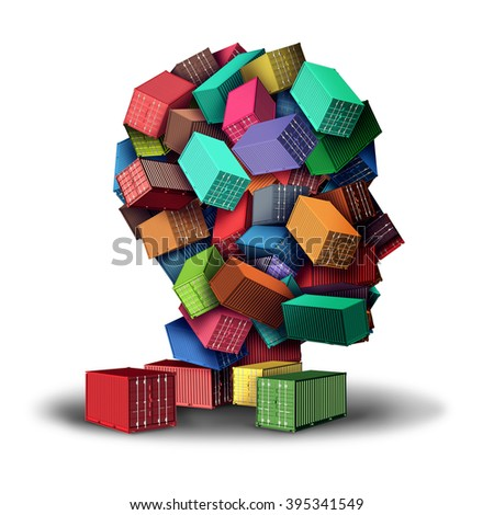 Cargo freight strategy 3D illustration concept and intelligent shipment symbol as a group of transport shipping containers shaped as a human head as an icon for planning of export and import. - stock photo