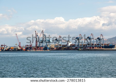 Cargo harbor in a summer day in Naples, Italy