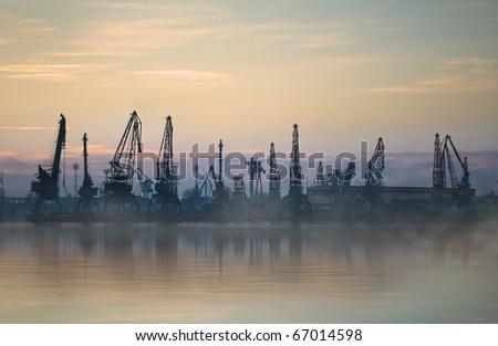 Cargo harbor in city of Varna, Bulgaria - stock photo
