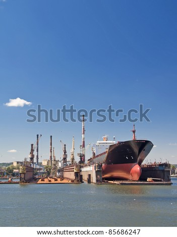 Cargo harbor in Poland - Gdansk - Danzig. - stock photo