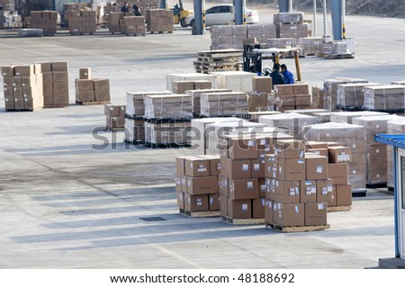 Cargo made in china at the airport - stock photo