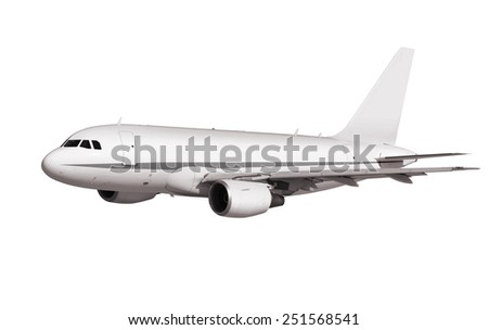 cargo plane on white background with path - stock photo