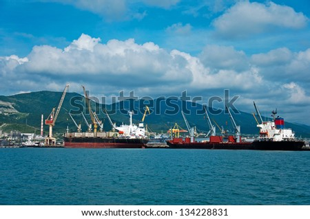 Cargo port at Novorossiysk. Russia - stock photo