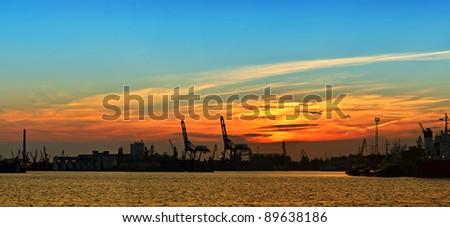 Cargo port, Industrial zone at night, panorama - stock photo