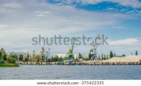 Cargo port  on the Dnieper river - stock photo
