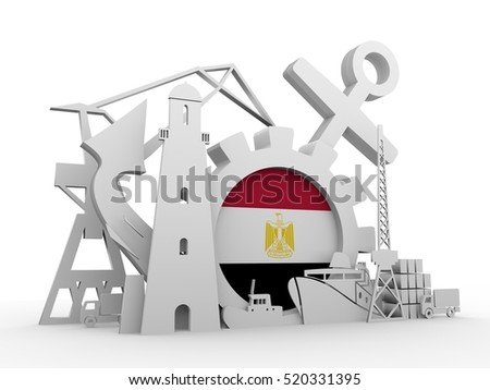 Cargo port relative icons set. Egypt flag in gear. 3D rendering