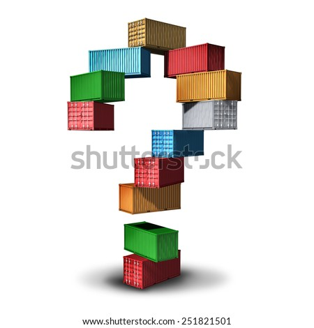 Cargo question concept and shipment information symbol as a group of transport shipping containers stacked in the shape of a question mark as an icon for export and import distribution of goods. - stock photo