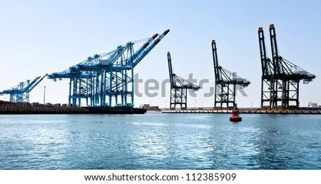 Cargo sea port. Sea cargo cranes. Sea. Panorama. - stock photo