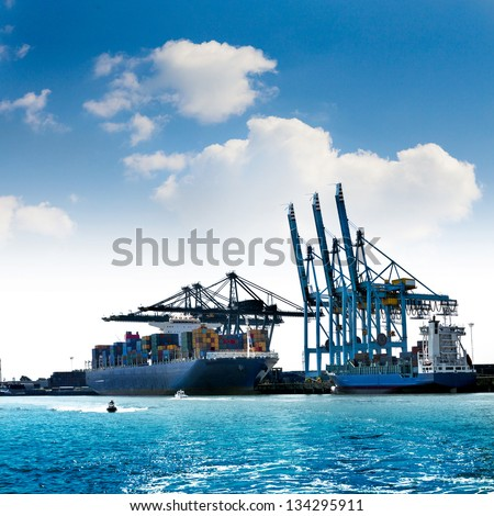 Cargo sea port. Sea cargo cranes. Seascape. - stock photo