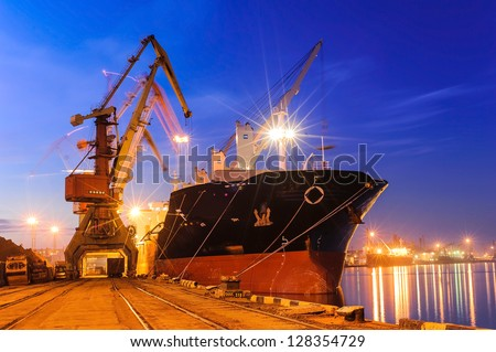 cargo ship - stock photo