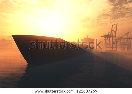 Cargo Ship approaching into Industrial Port in sunset sunrise 3D render - stock photo
