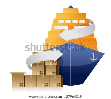 cargo ship, boxes, and movement arrows illustration design over white - stock photo