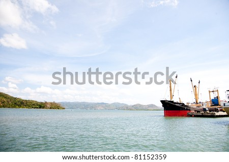 Cargo ship docked in port