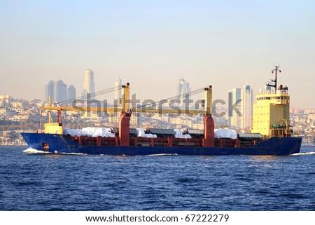 Cargo ship in Bosporus Sea, Istanbul - stock photo