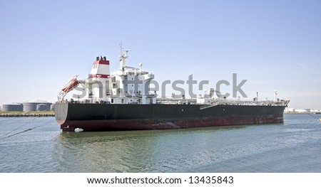 Cargo ship in Rotterdam harbor in the Netherlands